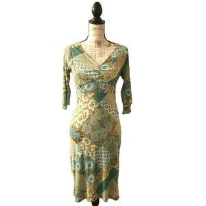 Midi Length Dress Michelle Green Blue Tie Back